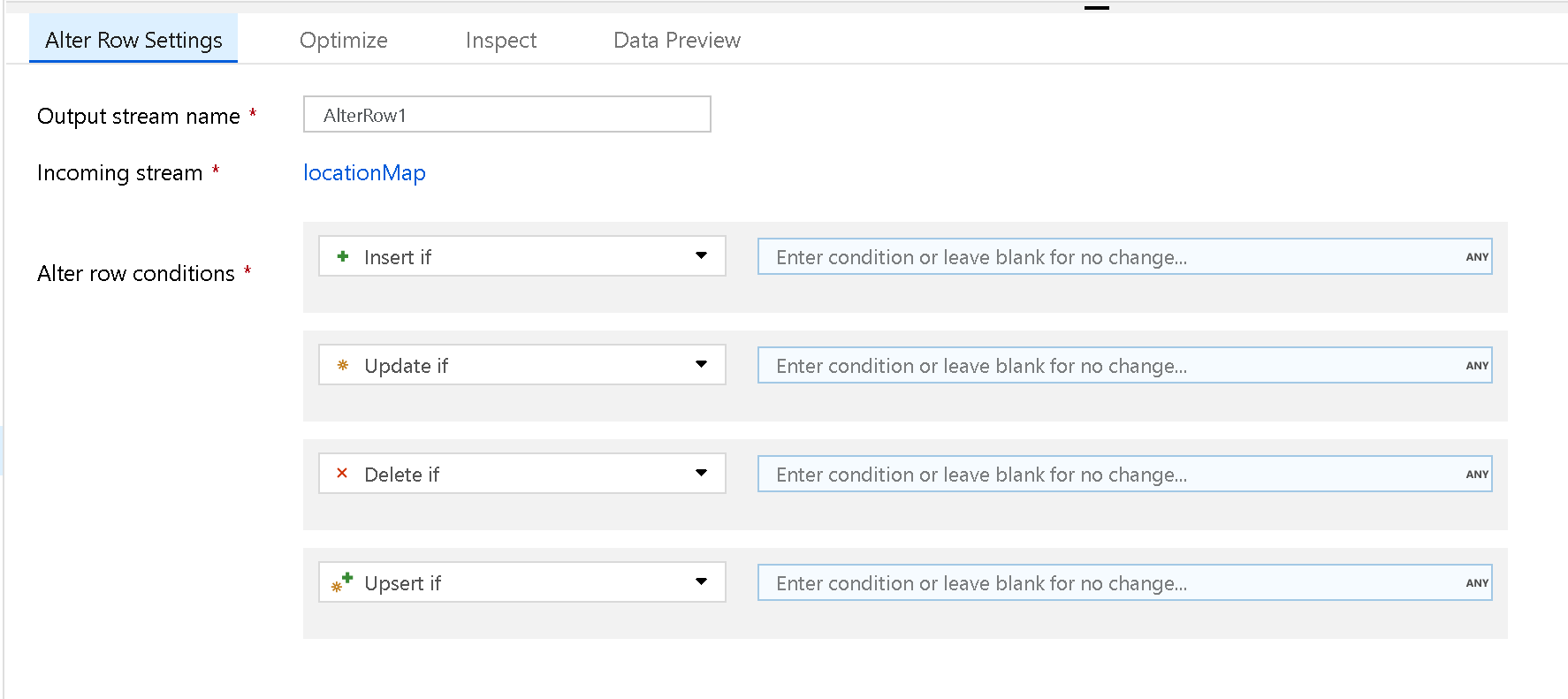 Azure Data Factory Mapping Data Flow Alter Row