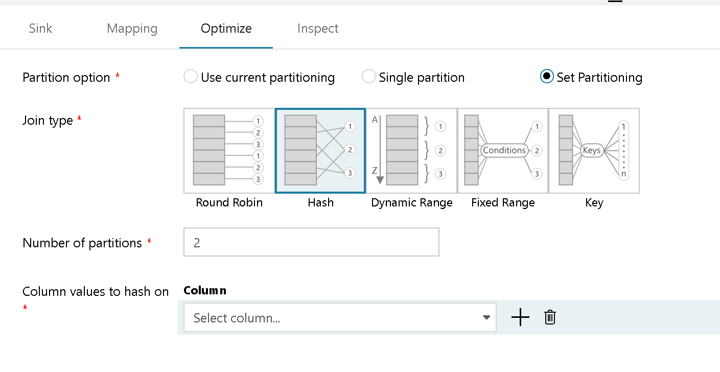 Azure Data Factory Mapping Data Flow Optimize Tab