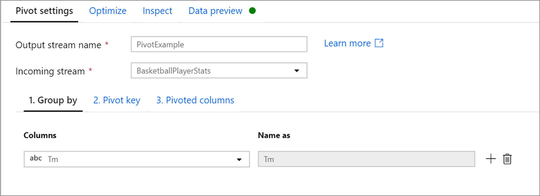 Azure Data Factory Mapping Data Flow Pivot Transformation