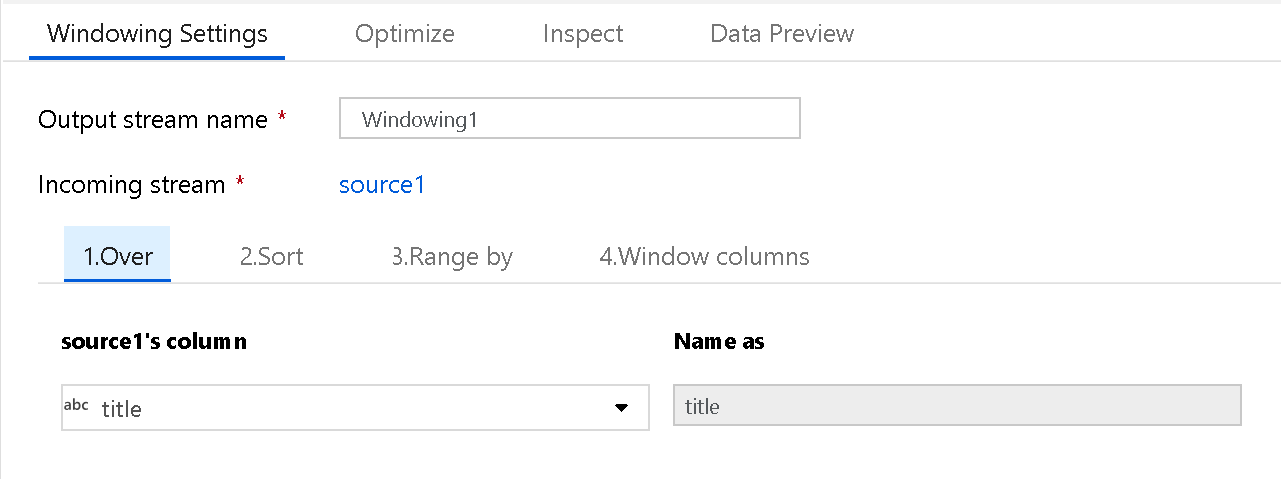 Azure Data Factory Mapping Data Flow Window Transformation