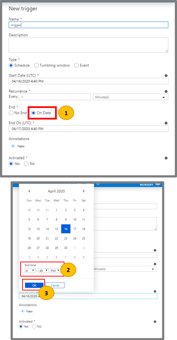 Create schedule triggers in Azure Data Factory | Microsoft Docs