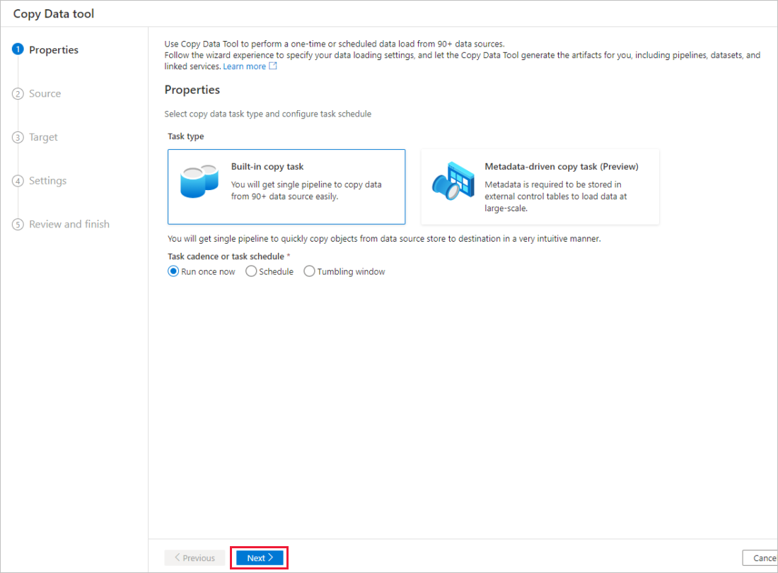 Copy data by using the Azure Copy Data tool | Microsoft Docs
