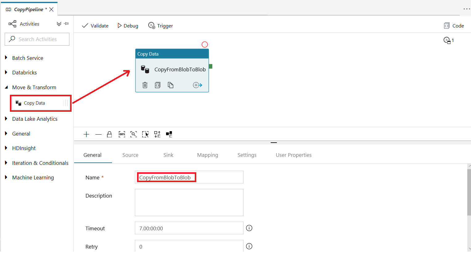 Copy activity general settings