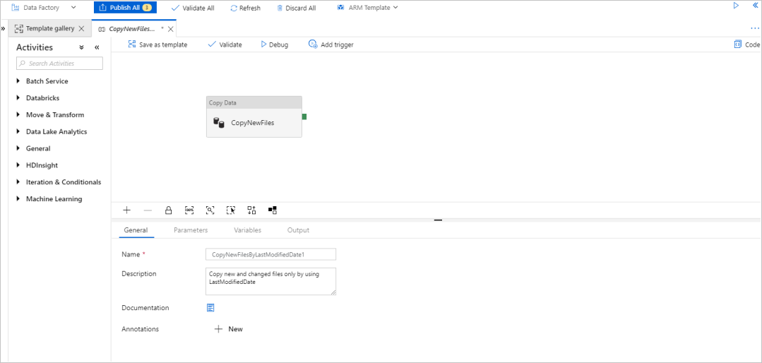 Copy new and changed files by LastModifiedDate with Azure
