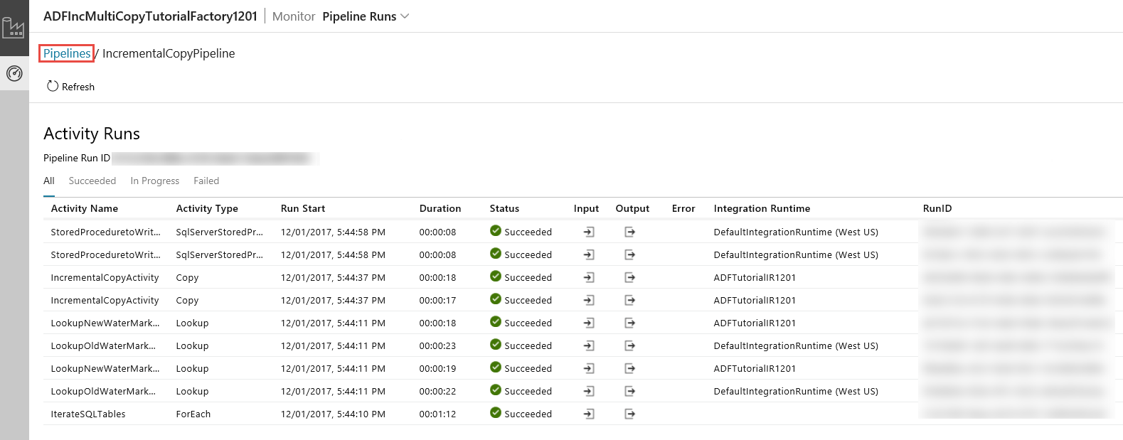 Incrementally copy multiple tables by using azure data factory when you select the link in the actions column you see the following page that shows all the activity runs for the pipeline gamestrikefo Images