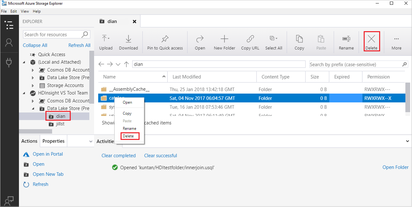Faster Data Transfer With Point And Paste Technology Manage Azure Lake Storage Gen1 Resources In Selections For Deleting A Folder