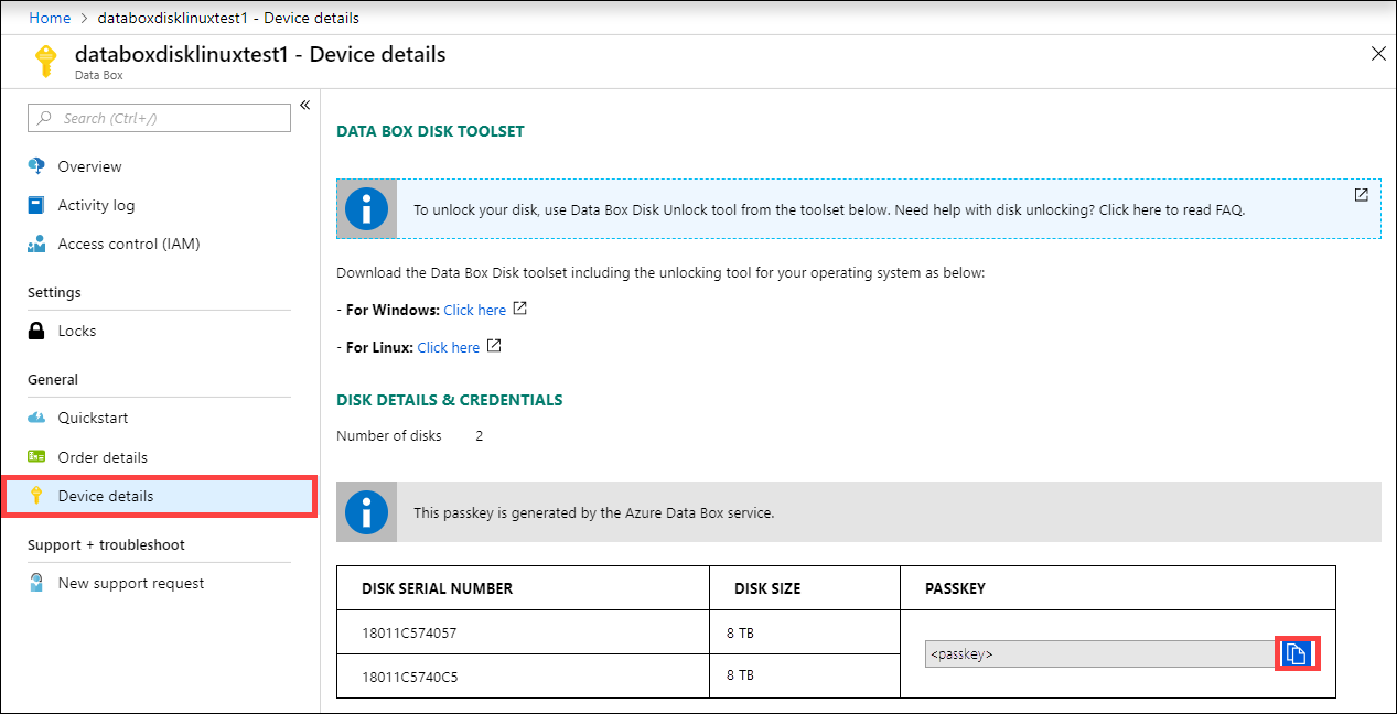 Tutorial to unpack, connect to, unlock Azure Data Box Disk