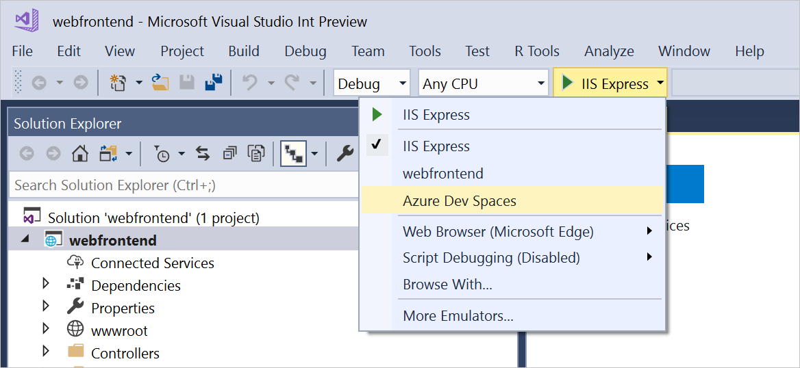 Screenshot of selecting Azure Dev Spaces as the debug launch target