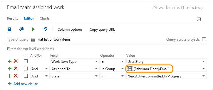 Web portal, Queries page, Query that uses In Group operator and team group name