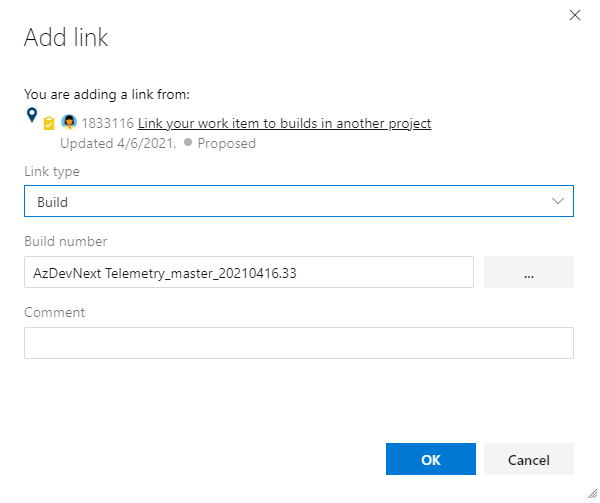 Add link dialog with Build number filled in.