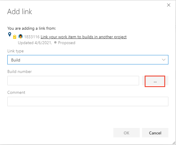 Add link dialog with Build link type selected.