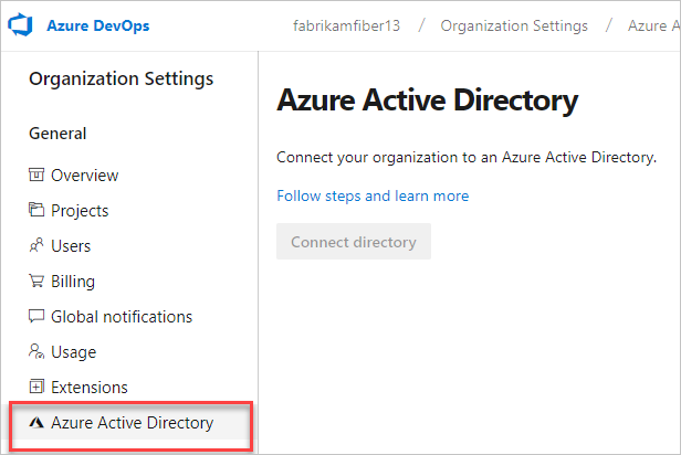 Check for a connected directory in Organization settings = Not connected