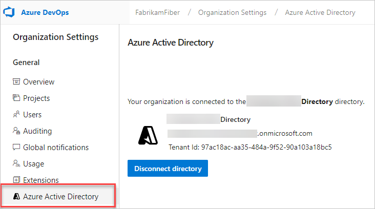 Check for a connected directory in Organization settings = Connected