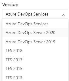 Select a version from Azure DevOps Content Version selector.