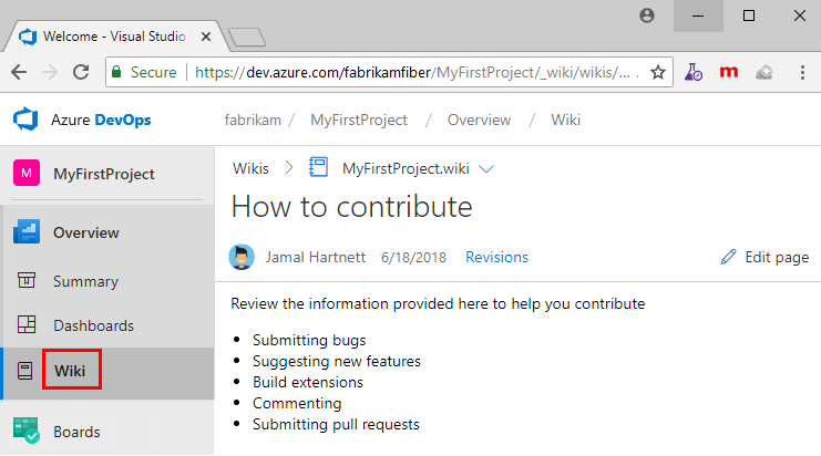 Create a project wiki to share information - Azure DevOps ...