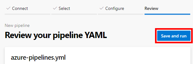 Save and run button in a new YAML pipeline