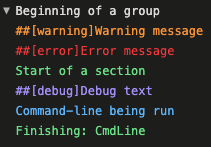 Screenshot of logs with custom formatting options