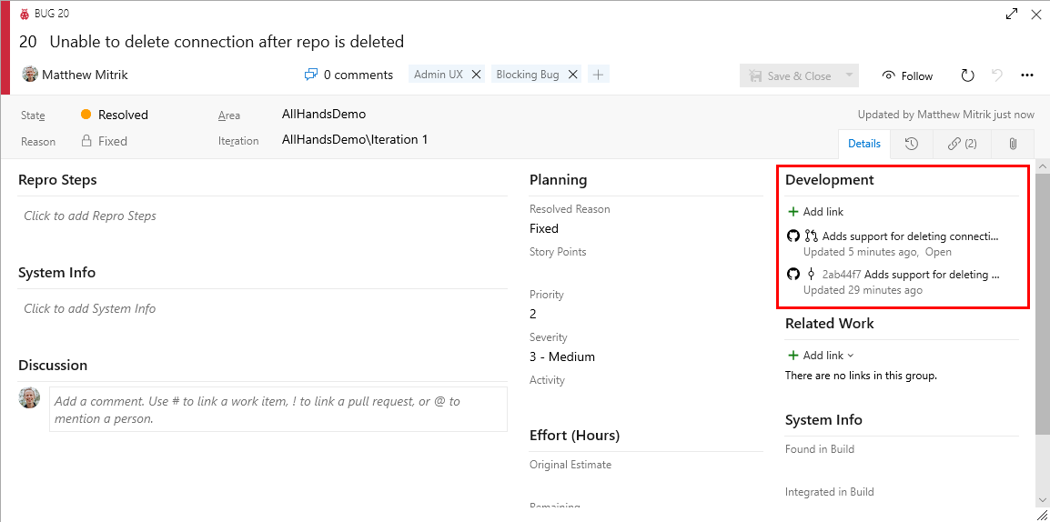 Link GitHub commits and pull requests to Azure Boards work