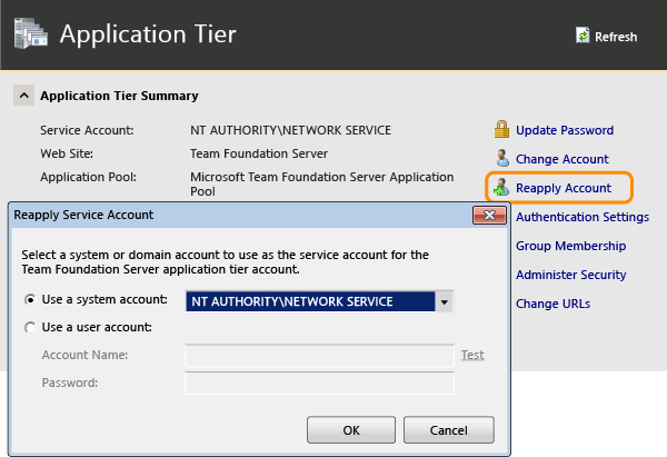 Reapply the service account information