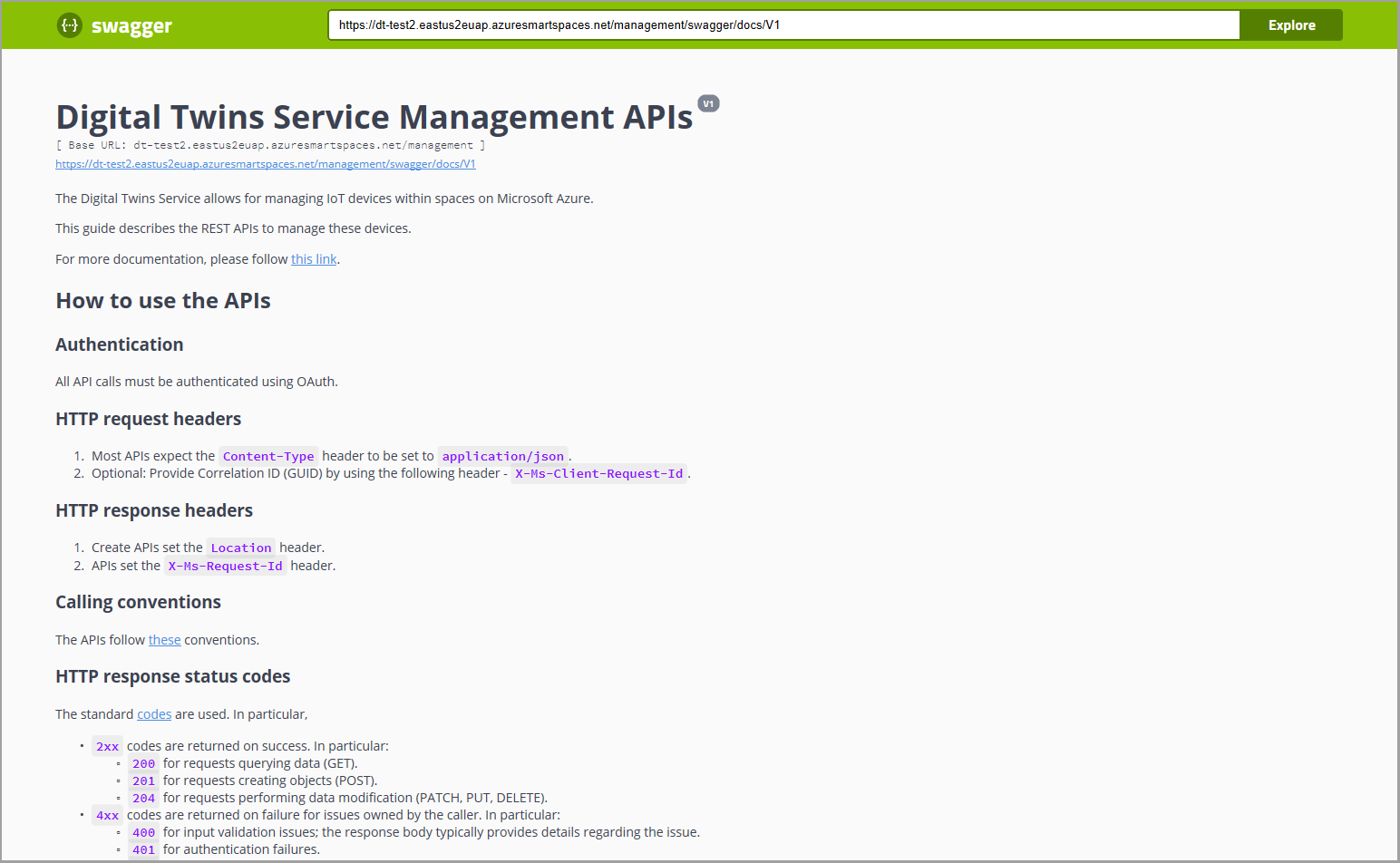 Understand how to use Azure Digital Twins reference Swagger