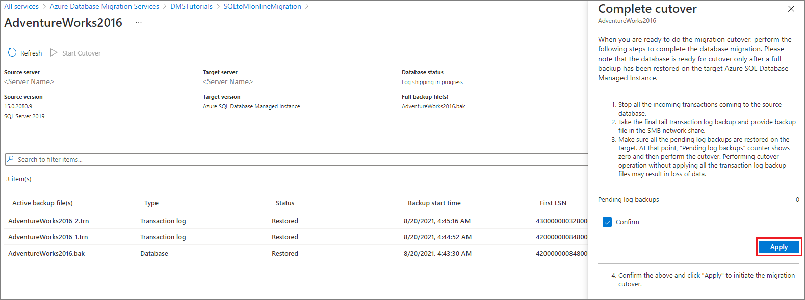 Tutorial: Use Azure Database Migration Service to perform an