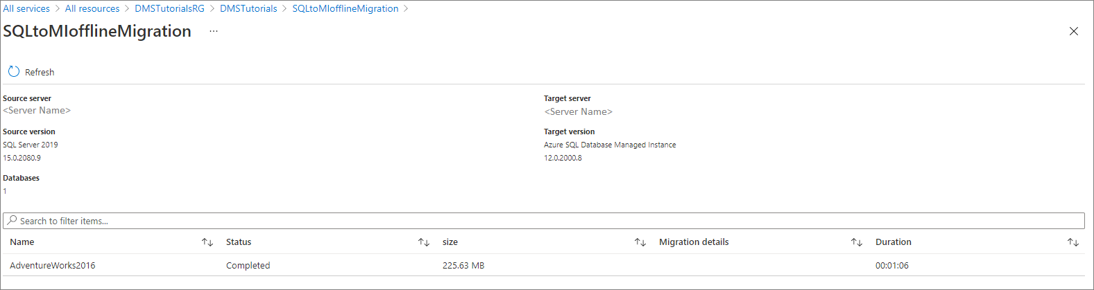 Tutorial: Use DMS to migrate to an Azure SQL Database managed