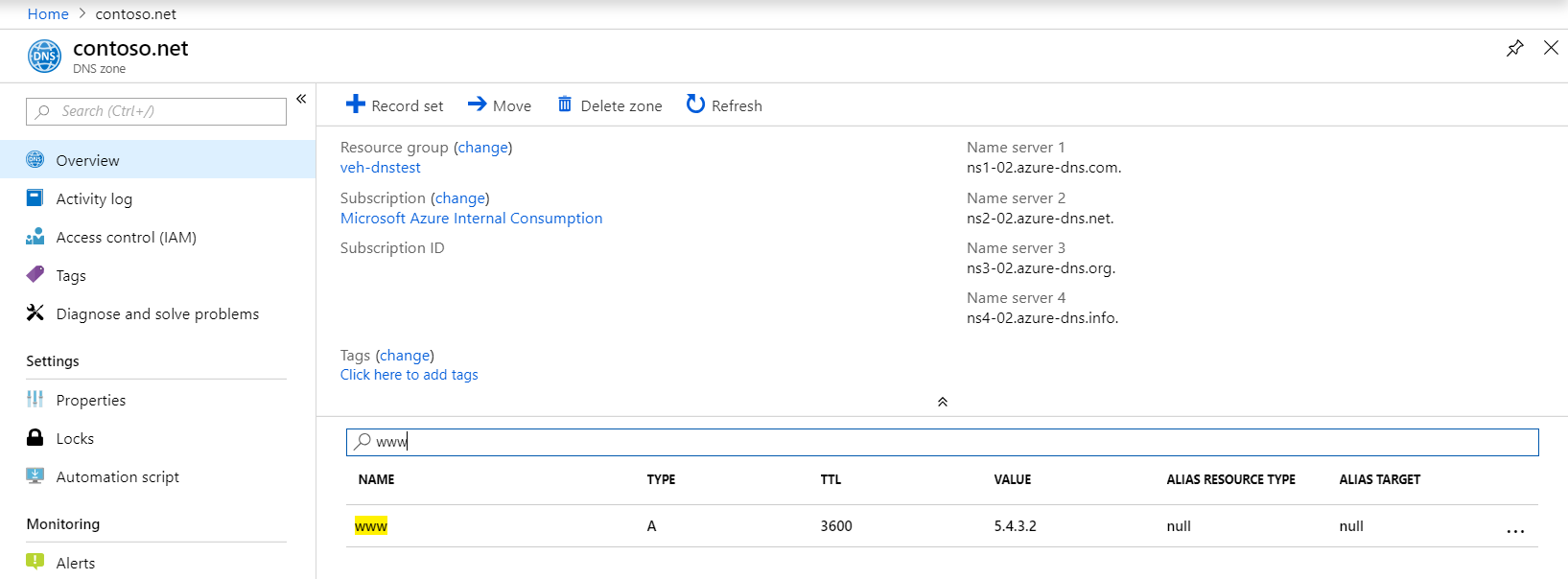Manage DNS record sets and records with Azure DNS | Microsoft Docs