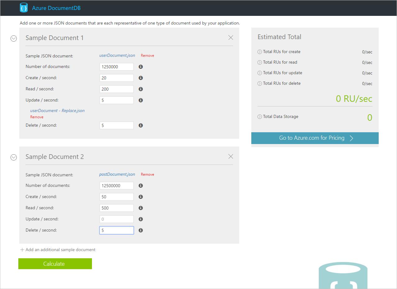 request units estimating throughput azure documentdb enter throughput requirements in the request unit calculator