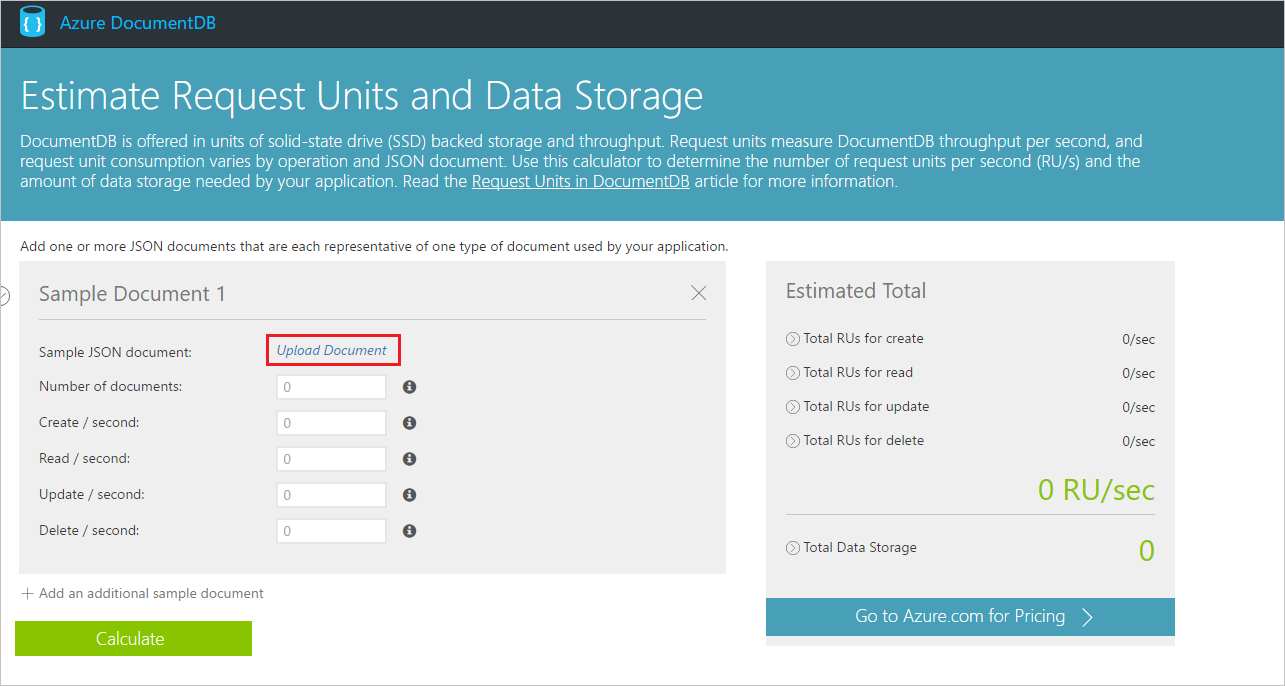 request units estimating throughput azure documentdb upload documents to the request unit calculator