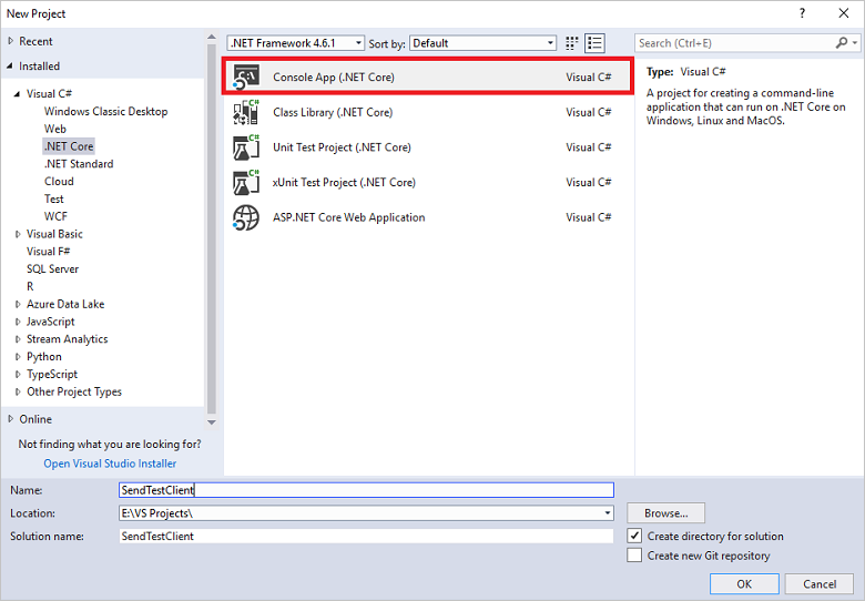 Send and receive events using  NET Core - Azure Event Hubs