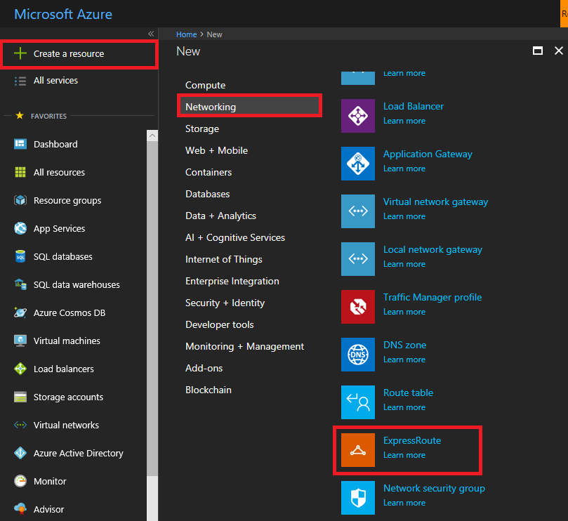 Create and modify an ExpressRoute circuit: Azure portal | Microsoft Docs