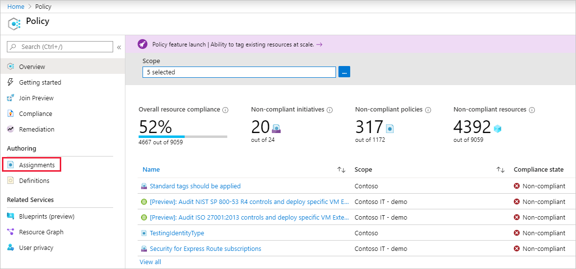 Create and manage policies to enforce compliance - Azure Policy