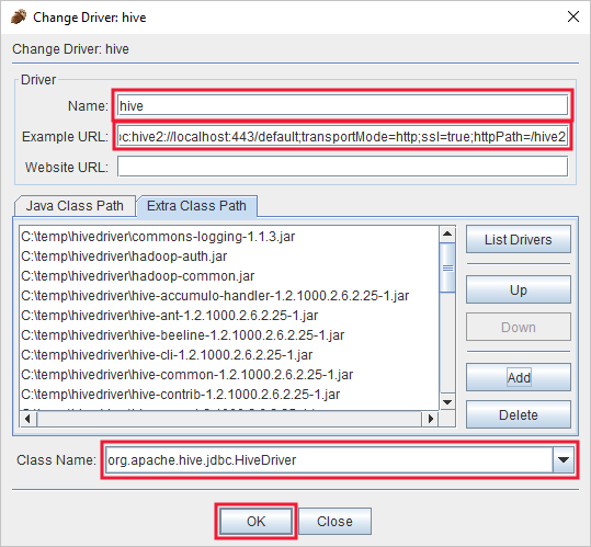 Query Apache Hive through the JDBC driver - Azure HDInsight