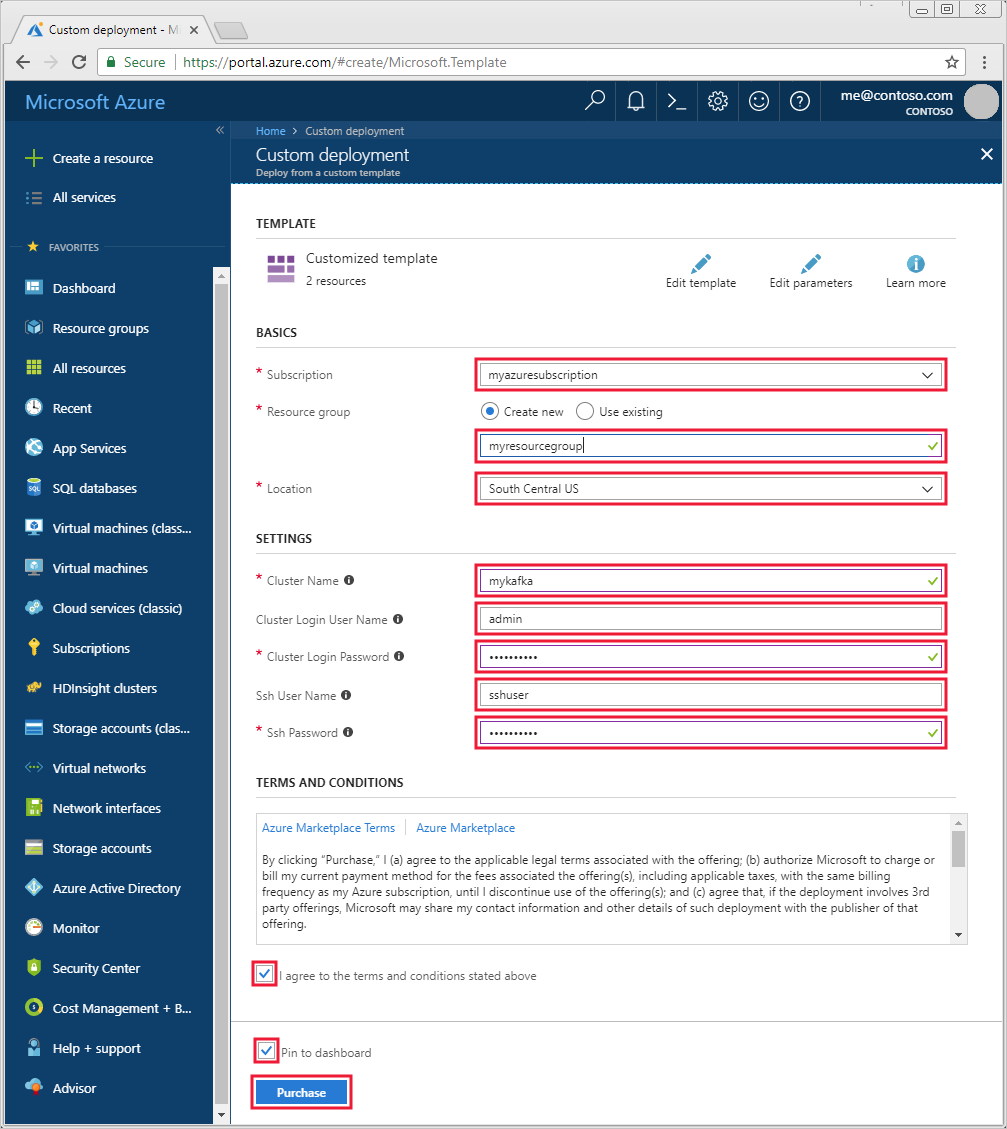 Set up Apache Kafka on HDInsight using Azure Resource