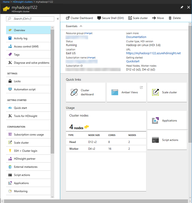 Manage Hadoop clusters in HDInsight using Azure portal ...
