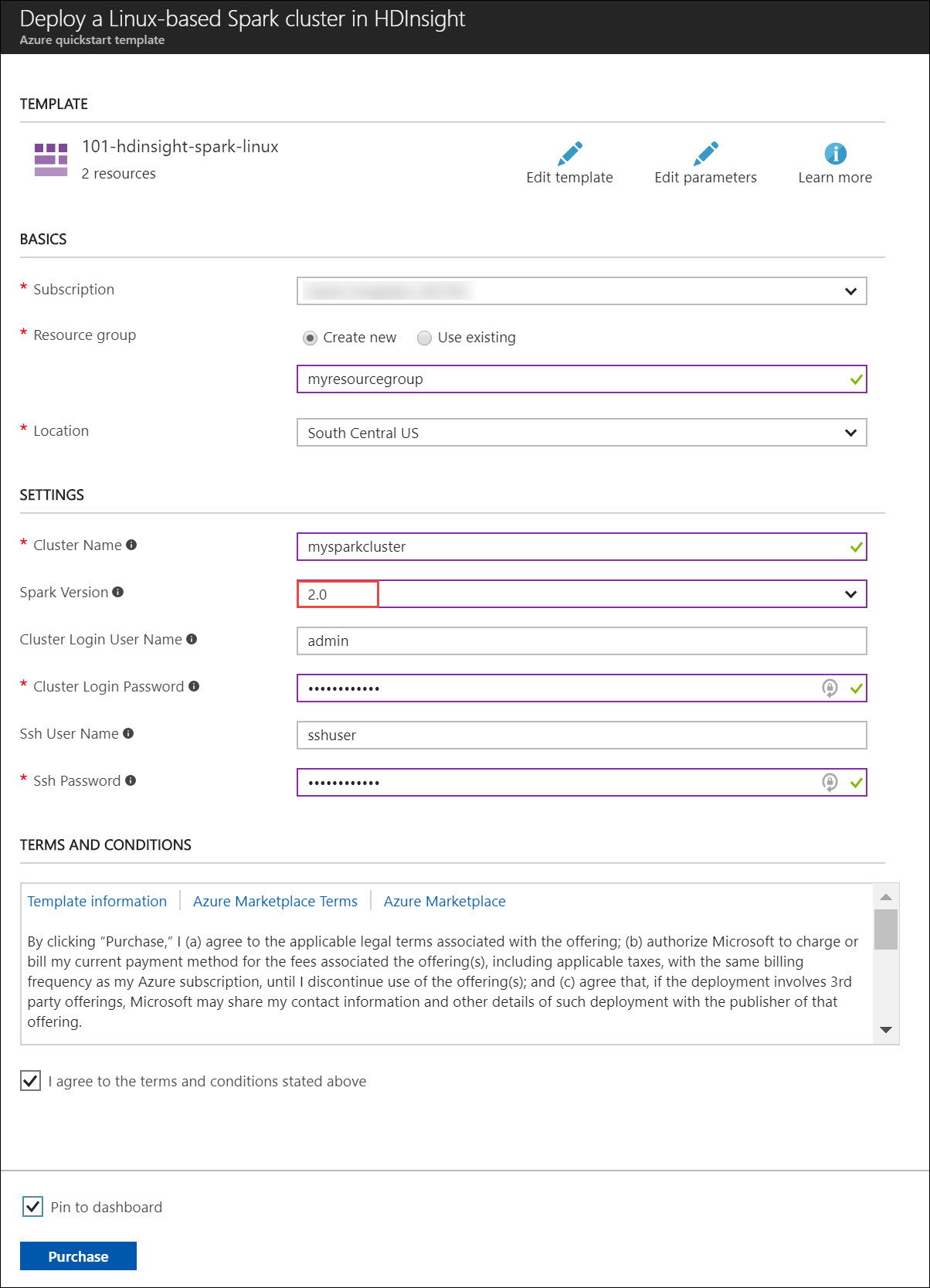 create an apache spark cluster in azure hdinsight
