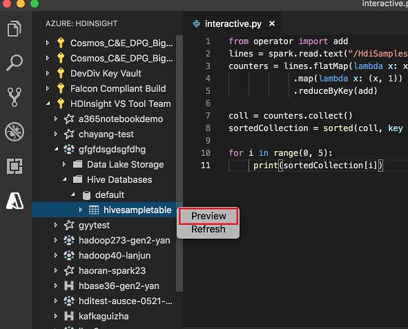 Azure HDInsight for Visual Studio Code | Microsoft Docs