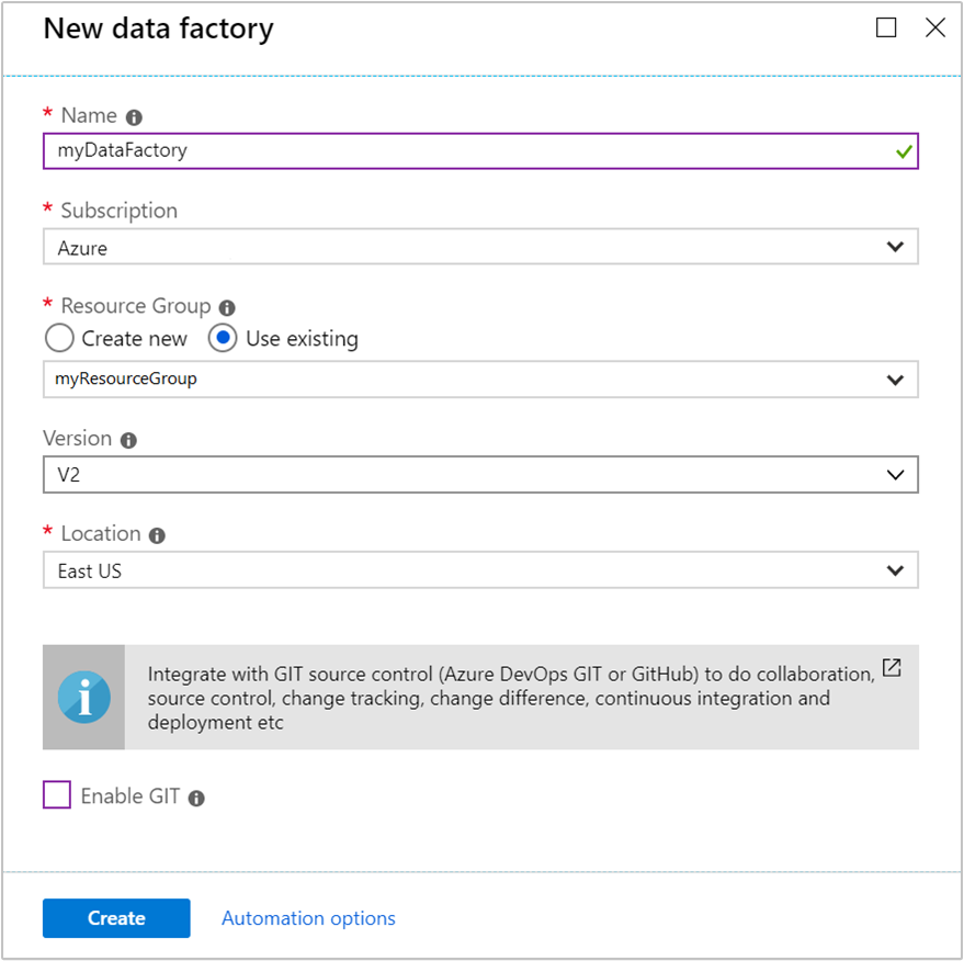 Create Azure Data Factory using Azure portal