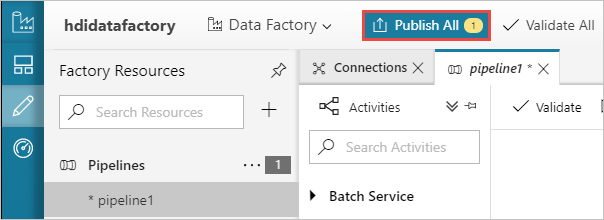 Publish the Azure Data Factory pipeline
