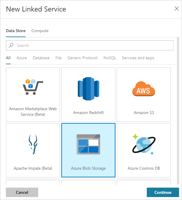 Create Azure Storage linked service for Data Factory