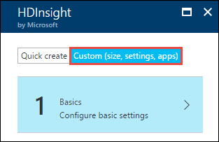 HDInsight cluster creation using custom options