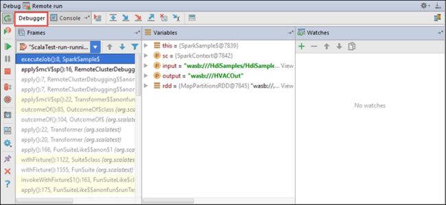 Azure Toolkit for IntelliJ: Debug applications remotely in HDInsight