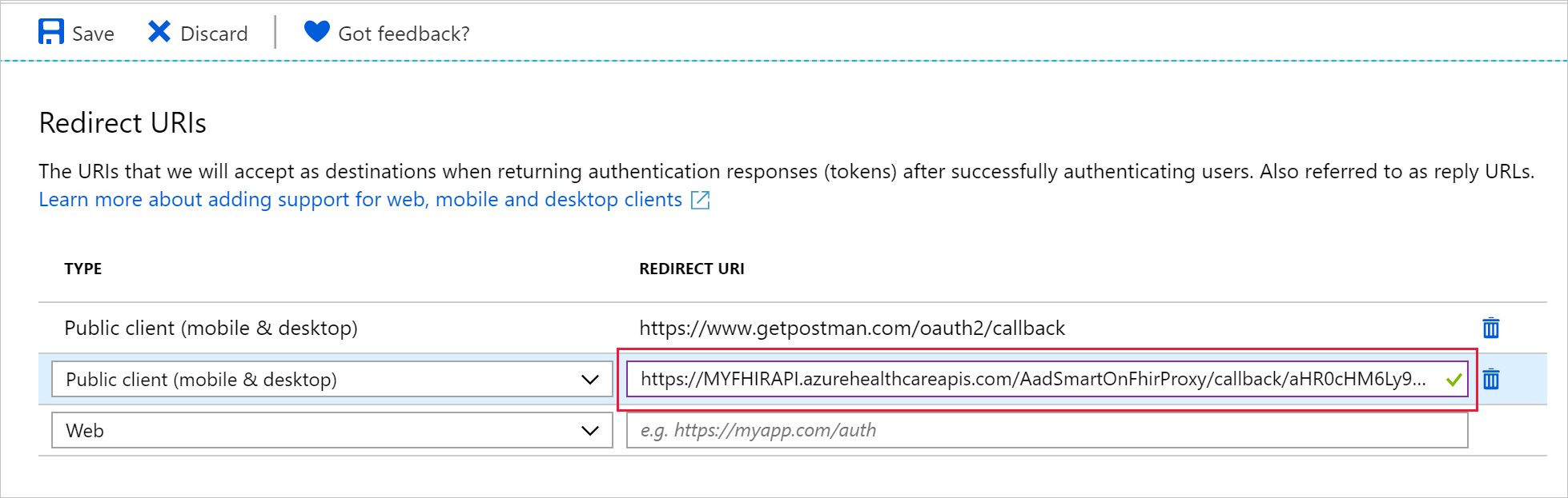 Reply URL configured for the public client