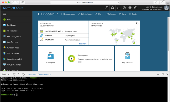 Screenshot showing the Cloud Shell window in the portal