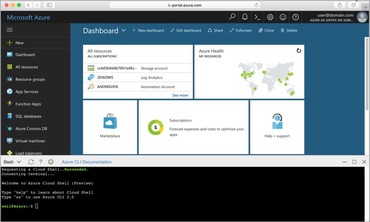 Screenshot showing the Cloud Shell window in the portal