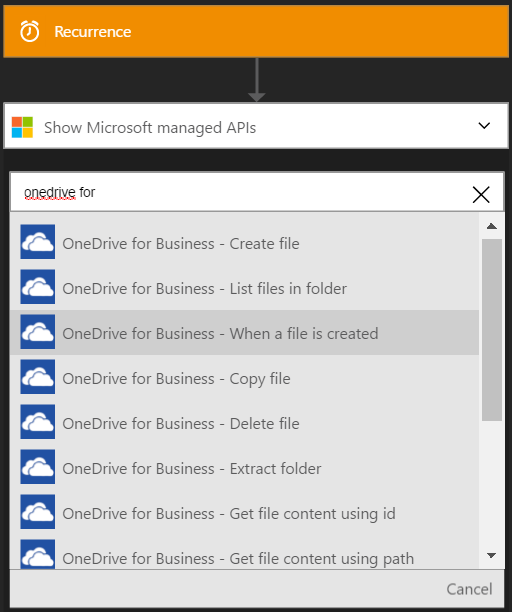 Connect to OneDrive for Business - Azure Logic Apps | Microsoft Docs