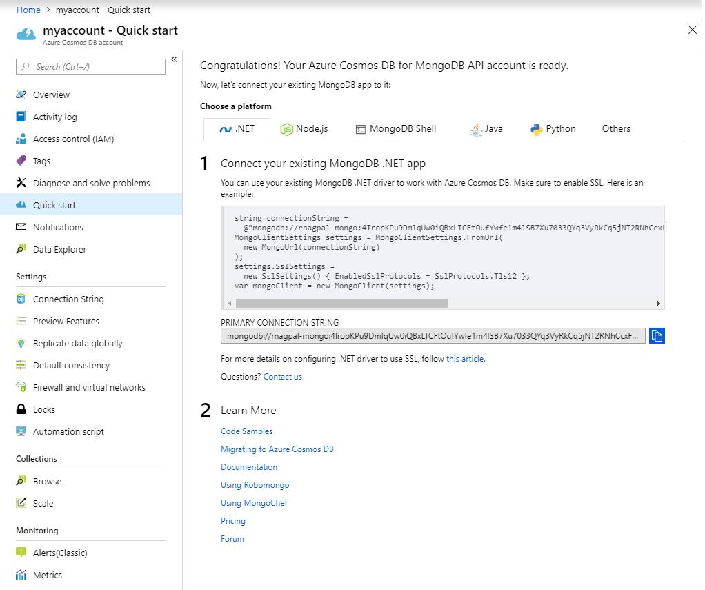 Build a web app using Azure Cosmos DB's API for MongoDB and  NET SDK