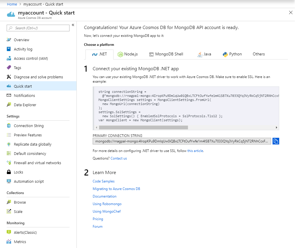 Build a web app using Azure Cosmos DB's API for MongoDB and
