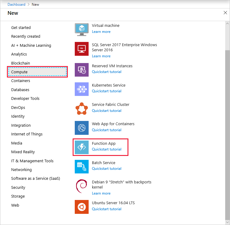 Create function app in the Azure portal