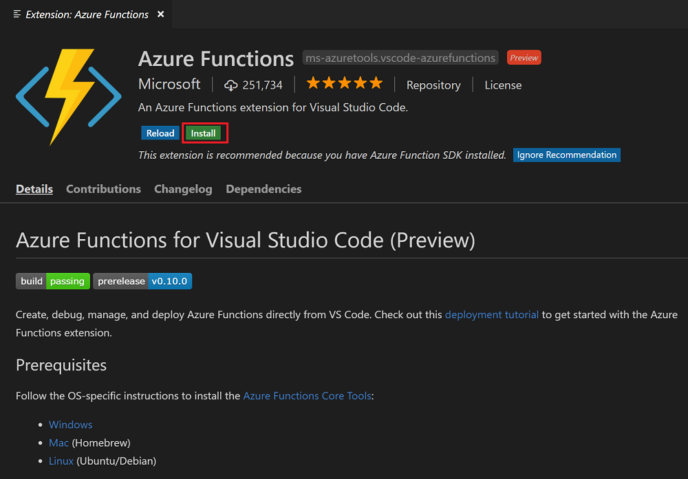 Install the extension for Azure Functions